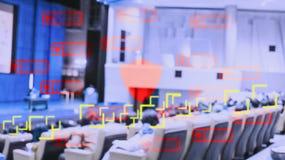 Technologie pour traiter des personnes de voie par le réseau sans fil et de satellites avec le système de balayage d'identité per photos stock