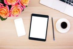 Technologie sur le bureau de concepteur Photographie stock libre de droits