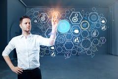 Technologie, toekomst en analyticsconcept stock fotografie