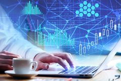 Technologie, toekomst en analyticsconcept stock afbeelding