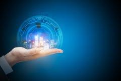 Technologie, toekomst, urbanisatie en mededeling Stock Afbeeldingen