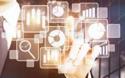 Technologie, touchscreen en infograph concept Stock Afbeelding