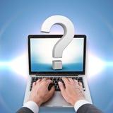 Technologie und FAQ-Konzept Stockfoto