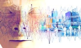 Technologie- und Geschäftskonzept Netz und globale Kommunikation Lizenzfreie Stockfotografie