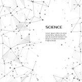 Technologie- und Wissenschaftshintergrund Abstraktes Netz und Knoten Plexusatomstruktur Vektor stock abbildung