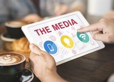 Technologie van Communicatie het Concept Pictogrammensymbolen Stock Afbeelding