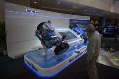 Technologie van de Aandrijving van Hyundai Hybride Blauwe bij 2010 Autoshow Royalty-vrije Stock Foto