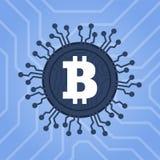 Technologie van de Bitcoins de digitale munt De illustratie van het Blockchainnetwerk Royalty-vrije Stock Fotografie