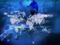 Technologie van telecommunicatie gecreeerd wereld bedrijfsnetwerk stock illustratie