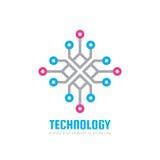 Technologie - vector het conceptenillustratie van het embleemmalplaatje Gegevens verwerkend netwerk creatief teken Elektronisch d stock illustratie