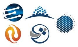 Technologie-Verbindung Logo Set Lizenzfreie Stockfotos