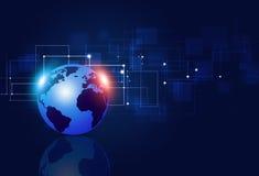Technologie-Verbindungs-Blau-Hintergrund Stockfoto