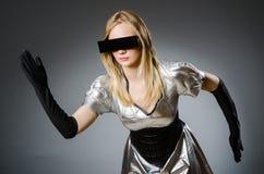 Technologie-vrouw in futuristisch Royalty-vrije Stock Afbeeldingen
