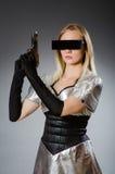Technologie-vrouw in futuristisch Royalty-vrije Stock Fotografie