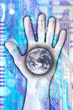 Technologie, welche die Welt erreicht stockbilder