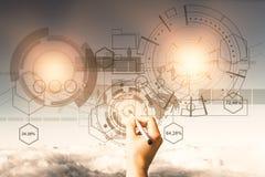 Technologie, Zukunft und Innovationskonzept lizenzfreie stockfotos