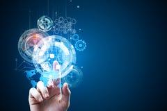 Technologie, Zukunft und mit Berührungseingabe Bildschirm Lizenzfreies Stockfoto