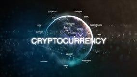 Technologieaarde van ruimtediewoord met cryptocurrency in nadruk wordt geplaatst Futuristische bitcoincrypto munt georiënteerde w Stock Foto's