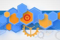 Technologieachtergrond, idee van globale bedrijfsoplossing Stock Afbeeldingen