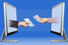 Technologieconcept, twee handen van monitors luchtkaartje en hand met contant geldgeld Illustratie stock afbeeldingen