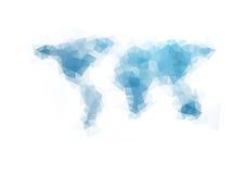 Technologiegeometrie-Weltkartehintergrund Stockfoto