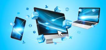 Technologiegeräte miteinander angeschlossen Lizenzfreie Stockfotografie