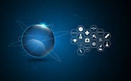 Technologiegesundheitsweseninnovations-Konzepthintergrund der abstrakten Vernetzung globaler Stockfotos