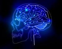 Technologiehintergrund des menschlichen Gehirns Stockbilder