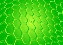 Technologiehintergrund des transparenten Hexagons auf Grün Stockbild
