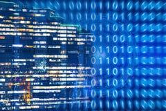 Technologiehintergrund für intelligente Stadt mit Internet von Sachen Stockfotografie