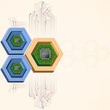 Technologiehintergrund mit elektronischen Chips Stockfoto
