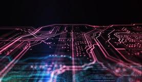 Technologiehintergrund PWB und Code Abbildung 3D Lizenzfreie Stockfotografie