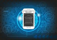 Technologiehintergrund-Vektordesign des beweglichen Bankwesens grafisches Lizenzfreies Stockfoto