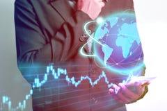 Technologiehologram en voorraadinvestering Stock Afbeelding
