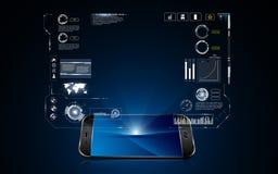 Technologiehologramm hud Schnittstelle auf Mobiltelefoninnovationstechnologie-Konzepthintergrund Stockbild