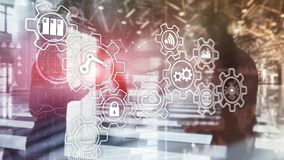 Technologieinnovatie en procesautomatisering De slimme industrie 4 stock afbeelding