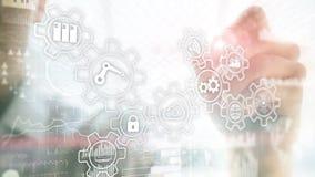 Technologieinnovatie en procesautomatisering De slimme industrie 4 stock foto
