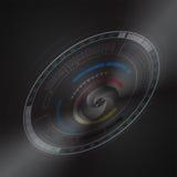 Technologiekamera und -linse mit Skalahintergrund stock abbildung