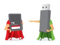 Technologiekampf zwischen grellem Antrieb und Helden der codierten Karte stock abbildung