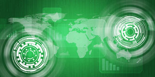 Technologiekonzept consits der Weltkarte, Diagramme Lizenzfreie Stockfotos