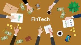 TECHNOLOGIEkonzept-Diskussionsillustration Fintech Finanzmit Sitzungssituation mit Schreibarbeiten, Geld, Münzen und Stockfotografie