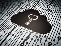 Technologiekonzept: Leiterplatte mit Wolken-Schlüssel Stockfoto