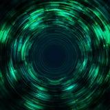 Technologiekonzeptzusammenfassungstürkis-Grünradialstrahl zeichnet futuristischen Hintergrund Stockbild