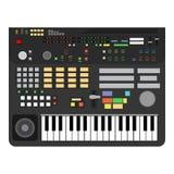 Technologieleistungs-Schlüsselklavier der Illustrationsentwurfskunst klassisches Berufskomponist synhesizer Musiklogo Medienstere vektor abbildung