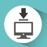 Technologiemonitor-PC-Downloading Lizenzfreie Stockfotos