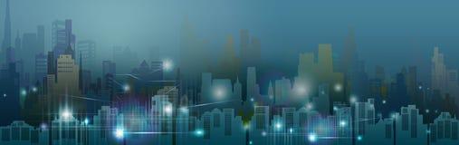 Technologieneon im im Stadtzentrum gelegenen Wolkenkratzerhintergrund stock abbildung