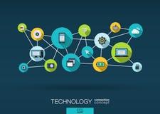 Technologienetwerk de achtergrond met integreert vlakke pictogrammen Royalty-vrije Stock Afbeeldingen