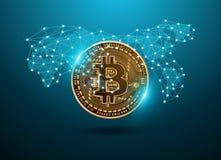 Technologienetz digitaler Währung Bitcoin futuristisches mit Weltkarte Stockfotos