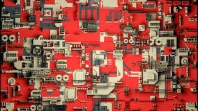 Technologieoberfläche mit vielen Details Einfache Geometrieformen verdrängten zur gelegentlichen Höhe 3d übertragen lizenzfreie stockfotos