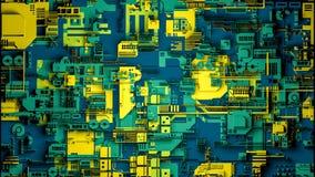 Technologieoberfläche mit vielen Details Einfache Geometrieformen verdrängten zur gelegentlichen Höhe 3d übertragen lizenzfreies stockbild